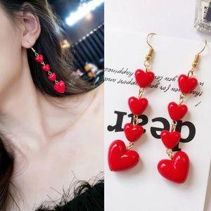 Long Red Heart ❤️ Earrings
